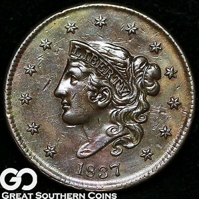 1837 Large Cent, Coronet Head, Nice Choice Uncirculated+ Copper