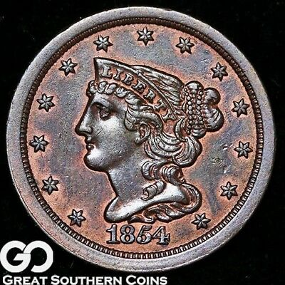 1854 Half Cent, Braided Hair, Choice Uncirculated++ Early Copper