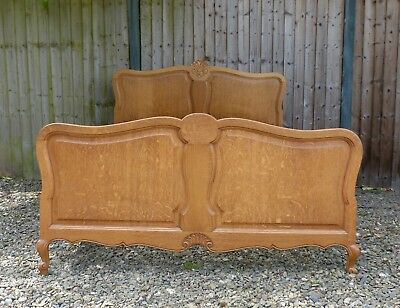 Genuine Vintage French Carved Rococo Louis XIV Oak Double Bed, Solid Oak