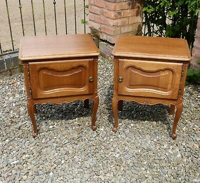 Gorgeous Pair of Genuine French Vintage Oak Louis XIV Style Bedside Cabinets
