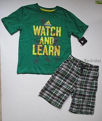 Adidas Watch and Learn Tee Shirt Top Carter's Plaid Shorts Set Boys 4 5 NEW NWT