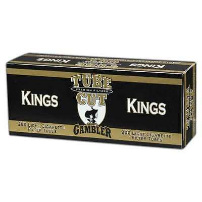 1x Box Gambler Lights Tube Cut KING SIZE ( 200 Tubes ) Cigarette Tube Gold
