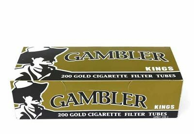 1x Box Gambler Lights KING SIZE ( 200 Tubes ) Cigarette Tube Tobacco Gold