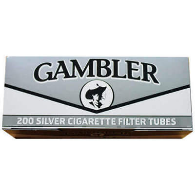 1x Box Gambler Silver KING SIZE  ( 200 Tubes )  Cigarette Tube Ultra Light