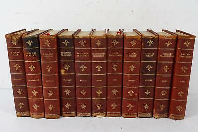 Lot of 11 Antique Books Decorative Red Leather Gilt Edge: Heroes Of History 1902