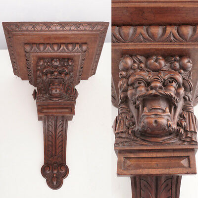 Large Antique French Hand Carved Solid Wood Wall Mount Shelf, Console, Bacchus