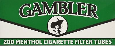 1x Box Gambler Menthol KING SIZE  ( 200 Tubes )  Cigarette Tube Tobacco Roll
