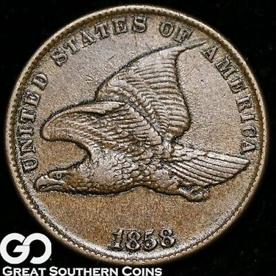 1858 Flying Eagle Cent, Small Letters, AU+ Copper