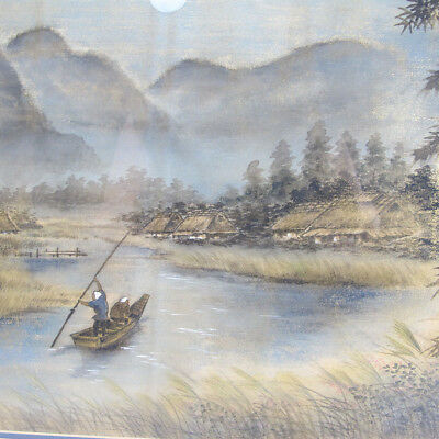 Meiji Early Export Silk Painting Moonlight Boatmen River Landscape - Yozan yqz