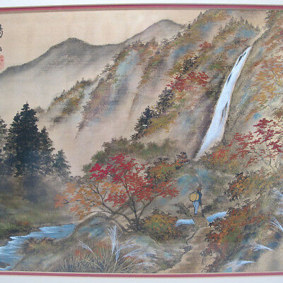 Meiji Early Export Silk Painting Traveler Waterfall Autumn Landscape - Yozan yqz
