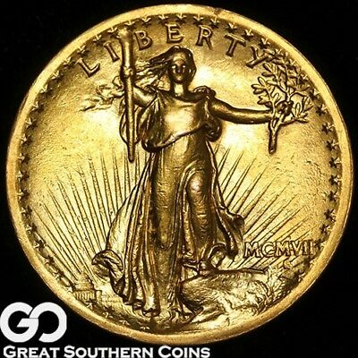 1907 Double Eagle, $20 Gold Saint Gaudens, HIGH RELIEF, Ultra RARE Key Date!