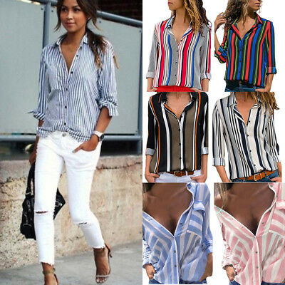 New Women Off Shoulder Long Sleeve Striped Loose Sexy Tops Casual Blouse T Shirt