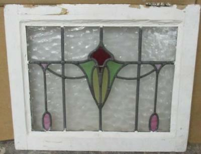 "OLD ENGLISH LEADED STAINED GLASS WINDOW Very Nice Floral Drop 20"" x 16.5"""