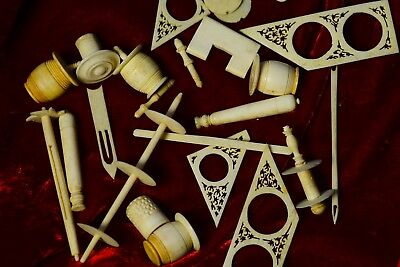 Bone Swift Parts...intricate Carved ~ 1800's