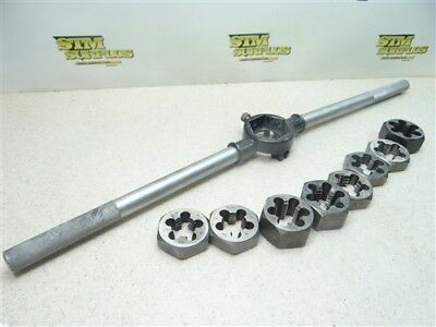 """Lot Of 8 Hss 1-13/16"""" Od Hex Dies 7/8""""-9Nc To 1""""-14Ns W/ Die Wrench"""