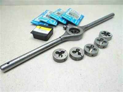 """Lot Of 6 Hss Round Dies 1-1/2"""" Od 5/16""""-24Nf To 5/8""""-11Nc W/ Wrench Gtd"""