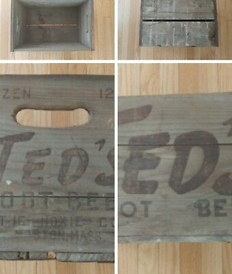 """1950's Ted Williams """"Ted's Root Beer"""" 2 Doz. 12 oz. Wooden Soda Crate"""