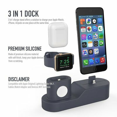 Charging Dock Station 3 in 1 Silicone Charger iPhone Apple Watch Airpods Stand