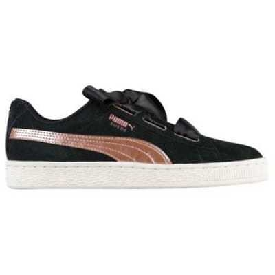 Puma women's heart suede shoes sneakers satin rose gold pink black size 9