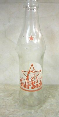 Vintage Clear Glass Red White Star Soda Bottle Girl Lei Wailuku Maui HI**