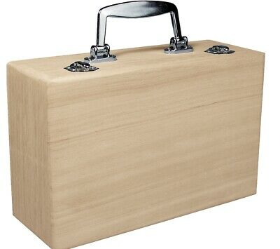Wood Suitcase with Clasp to Decorate 25x16x9cm   Wooden Boxes for Crafts