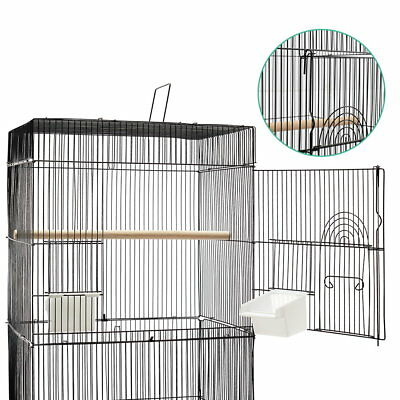 Pet Bird Cage Parrot Aviary Stand-alone Budgie Perch Castor Wheels M Black AU