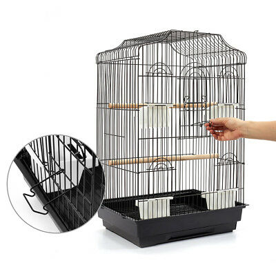 68cm Pet Bird Cage Parrot Aviary Stand-alone Budgie Perch Castor Wheels M Black