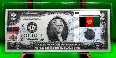 Money Us $2 Dollars Federal Reserve Note 1976 Flag Of Afghanistan Coin Gem Unc