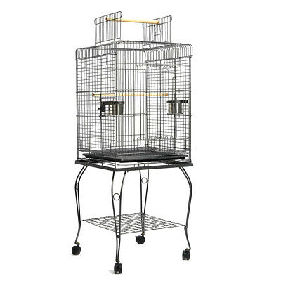 New 55cm Pet Bird Cage Parrot Aviary Stand-alone Budgie Perch Castor Top Open L