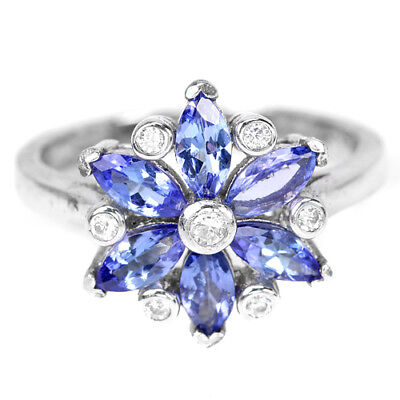 Natural Aaa Blue Tanzanite & White Cz Sterling 925 Silver Flower Ring Size 8.25