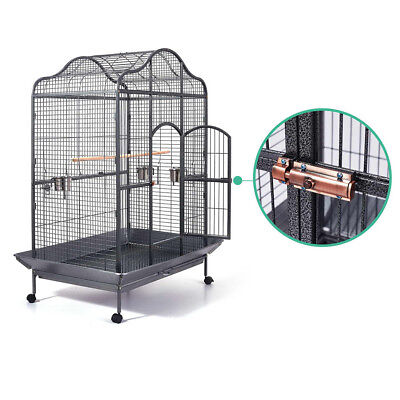 Open Roof Pet Bird Cage Parrot Aviary Stand-alone Budgie Perch Castor Wheels AU