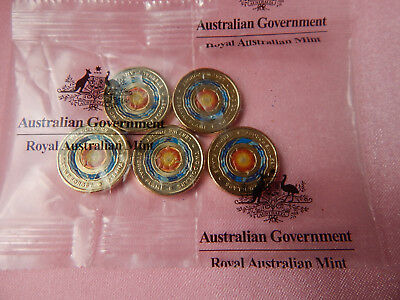 "2018 ANZAC ""Lest We Forget"" Eternal Flame Coloured $2 Coins in a Sachet of 5"