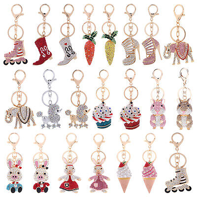 Fashion Crystal Rhinestone Keyring Keychain Handbag Purse Charm Car Key Chain