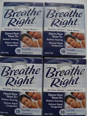 Lot of 4 Boxes Breathe Right Sm/Medium Clear 18 x 4 Total of 72 Strips Free Ship
