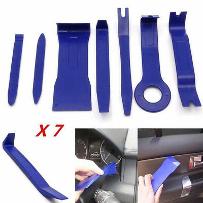 7pcs Blue Plastic Car Dashboard Door Radio Audio Trim Pry Open Removal Tool Kits