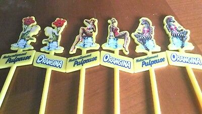 1 Lot De 6 Touilleurs Publicitaires *orangina* 3 Decors Differents