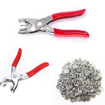 100Pcs 9.5mm Prong Ring Press Studs Snap Fasteners Poppers Dummy Clip Pliers HU