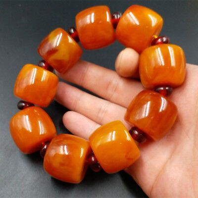 New chicken oil yellow amber barrel bead bracelet big bucket shape bead 20-13_复制