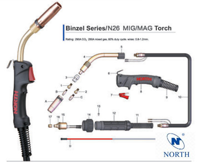 NORTH Binzel MB26 26KD 260A MIG MAG Torch 3m 4m 5m Euro Fitting 0.8-1.2mm AU