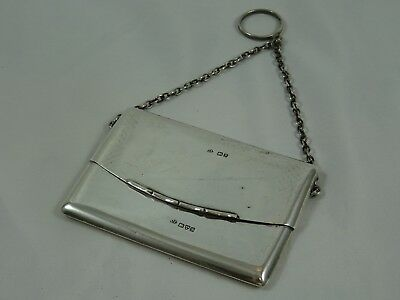 LOVELY, solid silver `Envelope` style CARD CASE, 1906, 91gm