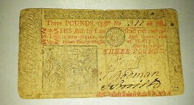April 23 1761 New Jersey 3 pound Colonial Note   No. 311