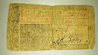 May 1 1758 New Jersey 3 pound Colonial Note   no A417