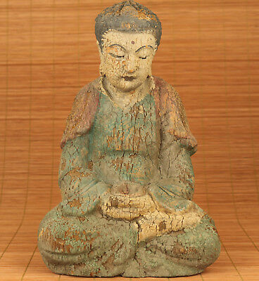 Ancient Big Chinese Old Wood Hand Carved Buddha Monk Statue Figure