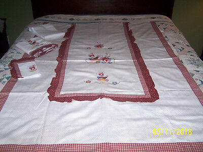 Vintage 4 Piece Embroidered Rabbit Bedding Crib Set, All Cotton & Made in Italy