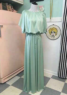 Vtg Mint Mod Retro Maxi Gown-Sea/Sage Green-Sleeves-Formal-Bridesmaid-Prom
