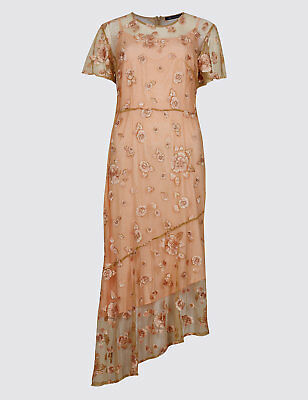 Ex Marks and Spencer Summer Embroidered Lace Overlay Short Sleeve Dress (259)