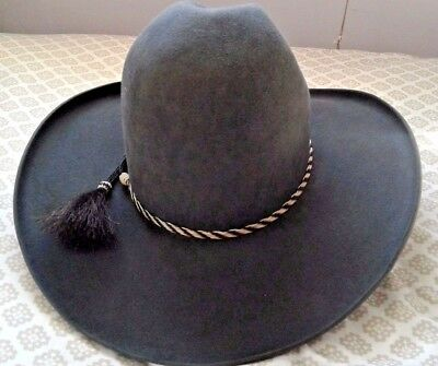 2cd95b5efc8 CATALENA HATTERS 10X Felt Fur Custom Made Texas Grey 7-1 4 Tall Gus ...