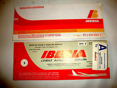 Iberia Lineas Aereas De Espana Passenger Ticket And Baggage Check. 2 Tickets