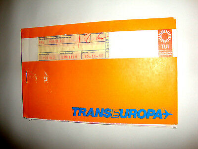 TRANS EUROPA TUI AIRLINES PASSENGER TICKET AND BAGGAGE CHECK. ancien billet