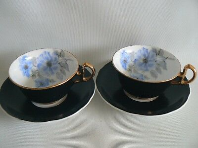 Royal Stafford Black Matt Finish Floral Bone China Tea Cup & Saucer x 2